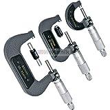 Good Quality 3 Pc External Adjustable Metric Micrometer Carbide Anvils Tool Set 0-75Mm In Wood Case