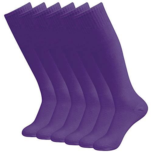 diwollsam 2/6 / 10 Paar Unisex Langrohr Kniehoch weich Classic Volleyball Fußball Cheerleading Socken - Violett - Einheitsgröße