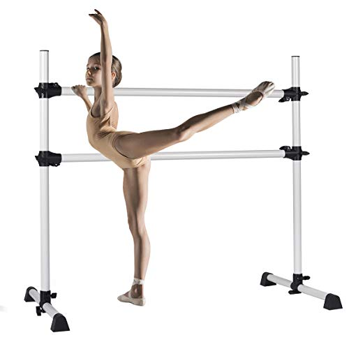 BiFanuo Ballet Barre Portable Double, Freestanding Ballet Barre Adjustable, Heavy Duty Dancing Stretching Ballet for Home,Dance Barre, Fitness Ballet Bar (Silver)