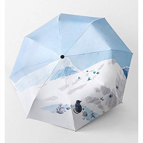 KYC Paraguas Completamente automático, Paraguas Plegable, día Soleado, se Puede Usar, protección UV Fuerte, también Puede ser Protector Solar. Dibujado a Mano ilustración de Estilo.