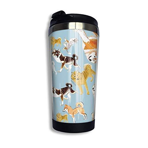 Razas de perros Razas de perros azules Taza de viaje personalizada azul Vaso de café de acero inoxidable Taza de café con aislamiento al vacío de doble pared para Navidad B