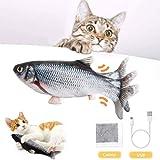 BTkviseQat Katzenspielzeug Elektrische Fische Katzenspielzeug mit Katzenminze, Simulation Elektrisch Spielzeug Fisch mit USB Charge, Kauen Spielzeug für Katze zu Spielen, Beißen, Kauen