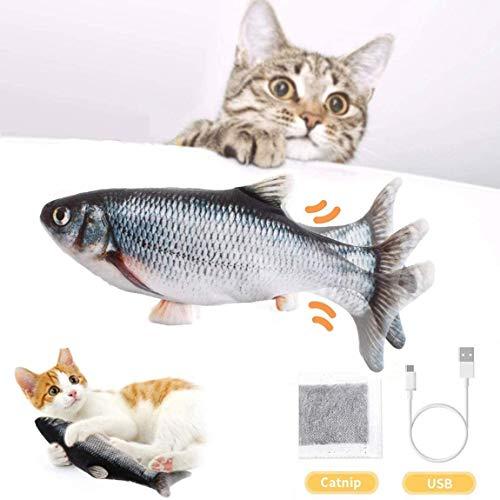 BTkviseQat Katzenspielzeug Elektrische Fische Katzenspielzeug mit Katzenminze,...
