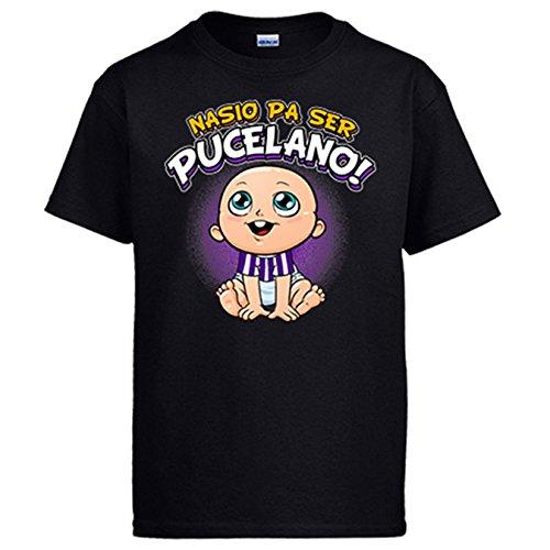 Diver Camisetas Camiseta Nacido para ser Pucelano para Aficionado al fútbol de Valladolid - Negro, XL