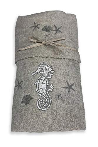 Tex family Juego de toallas de playa con diseño de caballito marinero, color gris
