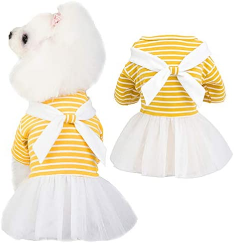 HOODDEAL Dog Striped Dresses with Bowtie Stretchy Cute Dog Summer Pullover Shirts Soft Plain product image