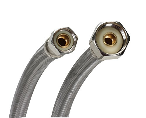 Fluidmaster B1F30 Faucet Connector, Braided Stainless Steel - 3/8 Female Compression Thread x 1/2 F.I.P. Thread, 30-Inch Length