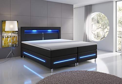 wohnenluxus Boxspringbett 180x200 Brüssel LED Hotelbett Kopflicht (180 x 200 cm, Schwarz)