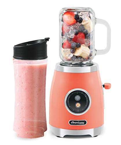 Elite Gourmet Americana EPB399C by Elite Maxi-Matic Retro Personal Blender with 17oz Glass Mason Jar, 20oz. Sports Bottle with Lids, Blend Smoothie, Crush Ice, Shakes, Keto Protein, 300 Watts, Coral