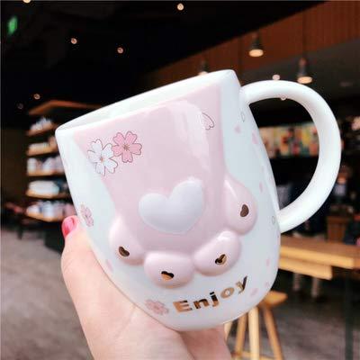 Copa De Vino Taza De Café Tazacute Cartoon Cat Paw Cup 400Ml Ceramic Mug With Spoon Straw Water Bottle For Girl Student Birthday Chris