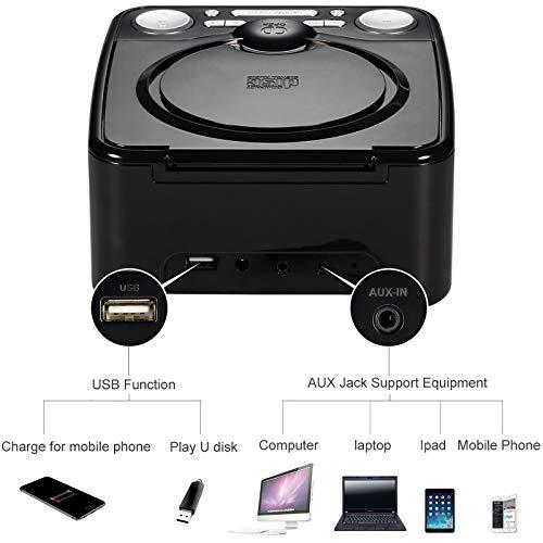 dpnao YW-010 CD Player Clock FM Radio with USB Port (Black)