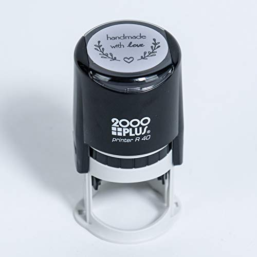 """Handmade with Love Self-Inking R40 Round Stamp with Heart and Olive Branch, 1 1/2"""" Diameter, Black Ink"""