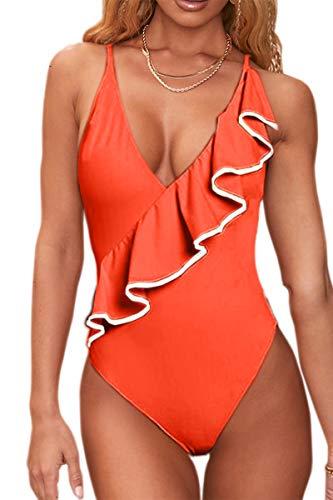 MERCHAM Women's Color Block Swimwear Ruffle Sexy Low Back One Piece Bathing Suits Orange S