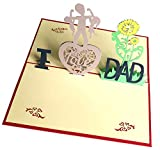 Apanphy® Tarjeta del día del padre, 3D Pop Up Tarjeta de cumpleaños para papá, el mejor regalo para el cumpleaños de papá y el Día del padre