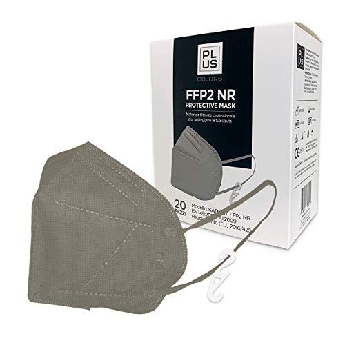 PLUS FFP2-Masken mit bequemen Gummibändern, verstellbarem Nasenstück, Staub- und Pollensicherheit, weißem Interieur, CE-zertifiziert mit Haken Inklusive Packung mit 20 Stück (Grau)