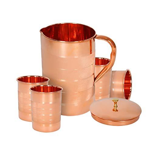 Set de 4 vasos de agua y una jarra con tapa, cobre...