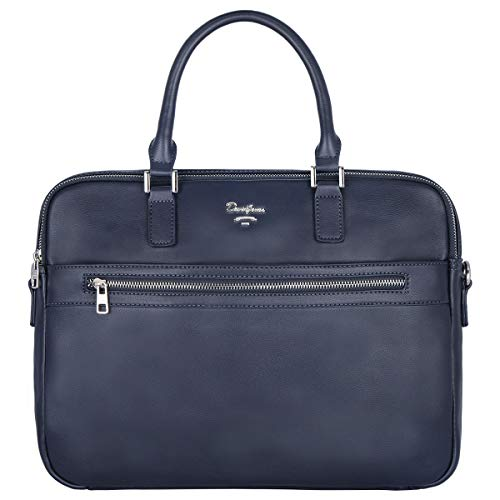 David Jones - Heren Aktetas Handtas - Businesstas Werktas Schooltas PU Leer - 15 inch Laptoptas Briefcase Satchel - Crossbodytas Schoudertas Messenger Tassen - Kantoor Werk - Blauw