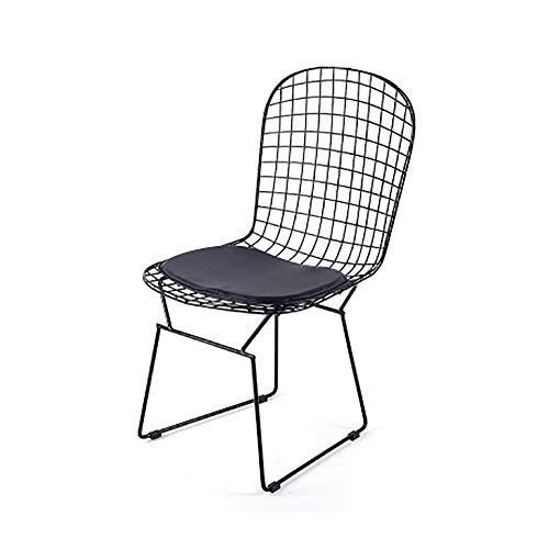 Moda para el Hogar ZHILIAN& Chaise Longue De Malla De Hierro Forjado De Metal Dorado Sillón De Estilo Nórdico Simple 43x43x87cm (Color : Negro)