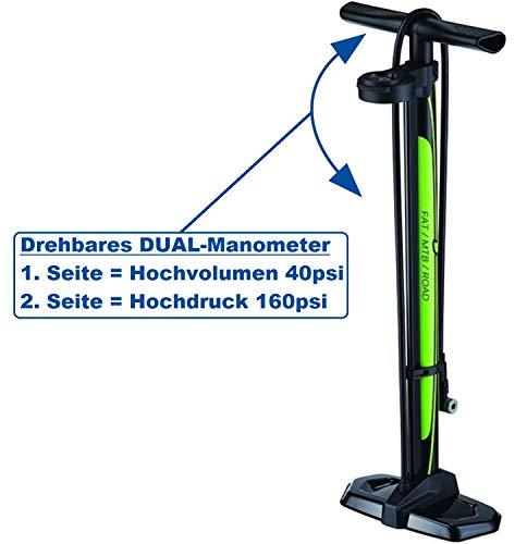 P4B Staande pomp met dual manometer, voor volum- en drukweergave, fietspomp voor fatbikes, mountainbikes, roadbikes, trekking bikes, citybikes, childrenbikes