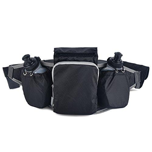 KSCAT Running Gürtel/Gürteltasche Sport 2 BPA-frei Wasser Flaschen, leicht & Langlebig Wasserdicht Tasche Fitness Workout Gürtel für Männer und Damen (grau)