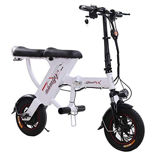 ONLYXKZ Folding Power Bike, batería de Litio para Bicicleta eléctrica, antirrobo, Plegable, Doble Coche, para Adultos, Color Blanco, tamaño 25A