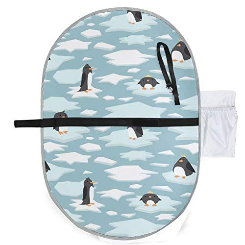Niedlichen Pinguin Cartoon Ice Blue White Windel Wickeltisch Matte faltbare Wickelauflage 27 x 10 Zoll wasserdicht faltbare Matte Baby tragbare Wickelstation tragbare Wickelauflagen