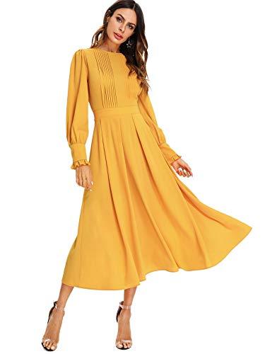 Vestido amarillo de falda larga y manga larga