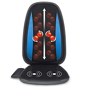 Comfier Shiatsu Back Massager with Heat -Deep Tissue Kneading Massage Seat Cushion Massage Chair Pad for Full Back Electric Body Massager for Home or Office Chair use