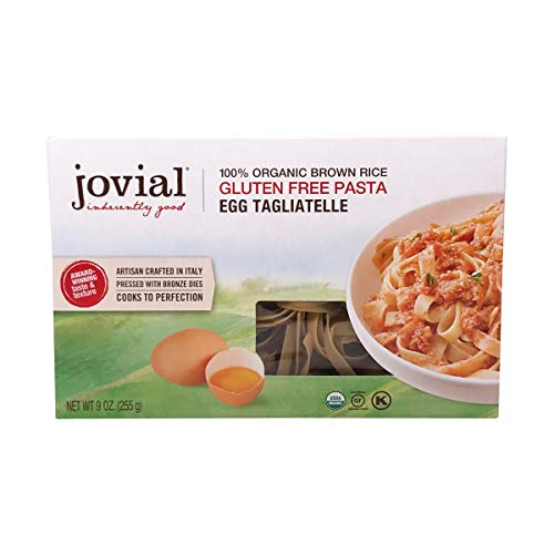 Jovial Egg Tagliatelle Gluten-Free Pasta | Whole Grain Brown Rice Egg Tagliatelle Pasta | Lower Carb | Kosher | USDA Certified Organic | Made in Italy | 9 oz
