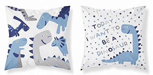 Kinder Baby Kissenbezug 40 x 40 cm 100% Baumwolle mit Reißverschluss (Dino blau)
