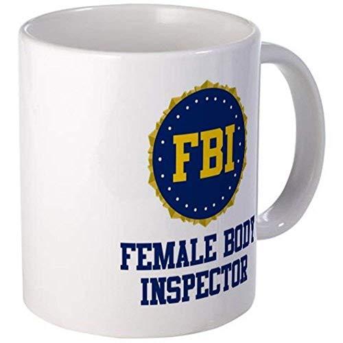 aza de café del inspector del cuerpo femenino del FBI Logo Federal Bureau of Investigation - Blanco Regalo para amigo Amante Policía Marido Esposa Padre Madre Compañero de trabajo en el día de graduac