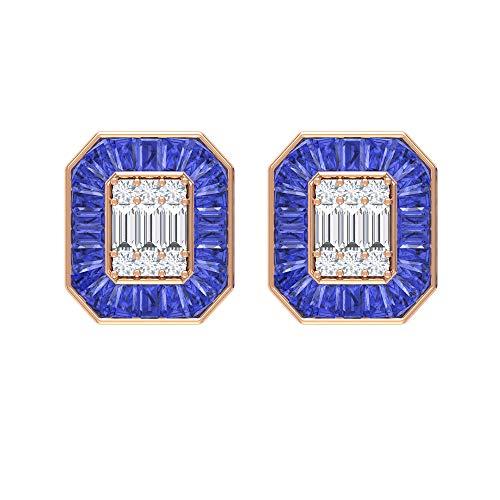Pendientes de tuerca de tanzanita y diamante de 5,75 quilates (calidad AAA), con parte trasera de rosca, Metal, Tanzanite Diamond,