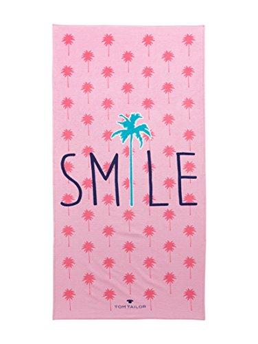Tom Tailor Velour Strandtuch Smile, 85 x 160 cm, pink, Größe Frottee:Strandtuch 85 x 160 cm