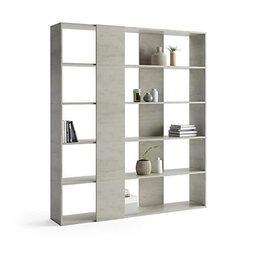 Mobili Fiver, Libreria Rachele, Cemento, 178 x 36 x 204 cm, Nobilitato, Made in Italy, Disponibile in Vari Colori