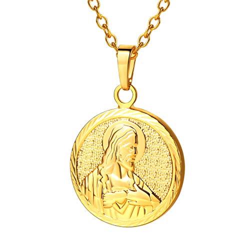 FaithHeart-Jesus Portrait Colgante de Monedas de latón Figura católica Collar en 18k Chapado en Oro Medallón Redondo Unisex Hombre Mujer