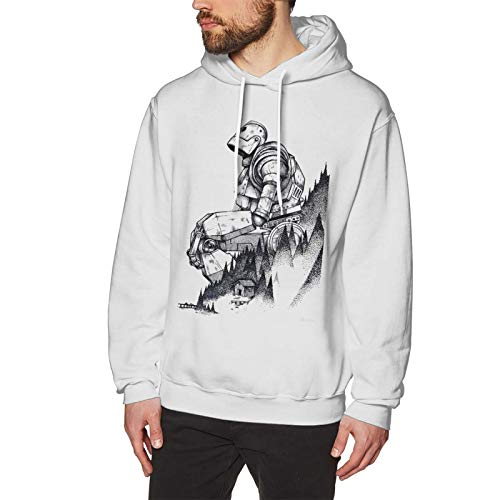 ROBERSN Men's Cotton Pullover Comfortable Hoodie Sweatshirt Print Print Iron Giant Hooded Shirts with Pocket,White,Medium