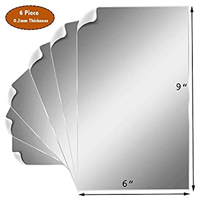 6 Pieces Self Adhesive Flexible Acrylic Mirror Sheets, 6 x 9 Inches, 0.2mm Thickness Customizable DIY Full-Length Mirror Tiles Ideal for Craft Home Wall Decor (6 pcs can Make a Full-Length Mirror)