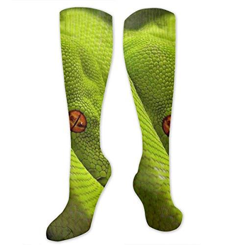 zhouyongz Cobra Sonajero Ojos de serpiente Python Medias de tubo largo calcetines deportivos calcetines de fútbol para mujeres adolescentes niñas familia amigos