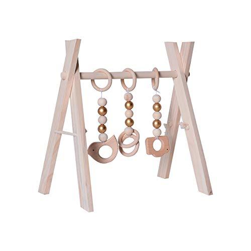 WHFY Arco de madera con altura ajustable para bebés, entrenador de fitness plegable de madera con 3 colgantes para el gimnasio, incluye para mejorar el agarre y la coordinación (color madera)