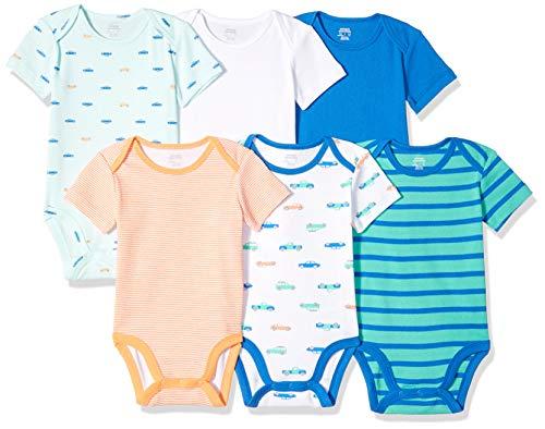 Amazon Essentials Infant Boys Short-Sleeve Bodysuits, 6-Pack Car, 24 Months