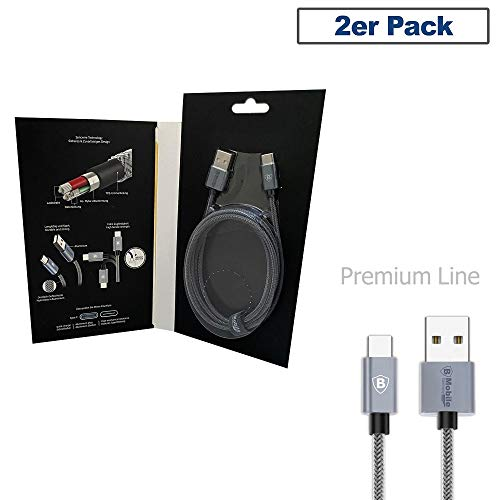 B-Mobile 2-pack 1,5 m Syncwire type C Lightning USB nylon oplaadkabel datakabel lader kabel voor Samsung Galaxy S10/ S9/S8 Plus, Note 9 8, Huawei P20/ P10/ Mate 20, Sony Xperia, HTC, Lumia, Google