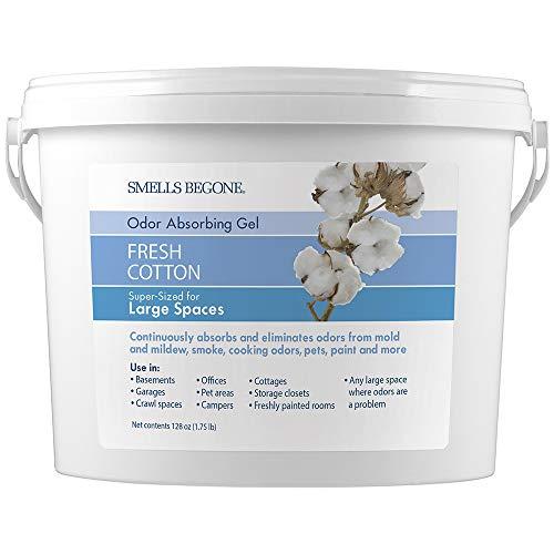 SMELLS BEGONE Odor Absorber Gel - 1 Gallon - Air Freshener & Odor Eliminator for Homes, Garages & Commercial Buildings - Industrial Size & Strength - Fresh Cotton Scent