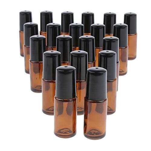Milageto Bote de cristal portátil de 20 x 5 ml con rollos de acero para aceites esenciales, color marrón claro
