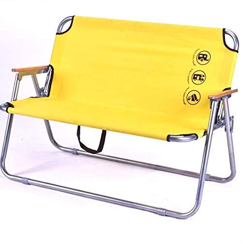 FGA Klappstuhl Tragbare Doppel-Campingstühle, gelbe Strandlounge Chaise Camping Stühle