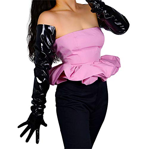 DooWay Unisex Shoulder Length Patent Leather Gloves for Women Costumes Party Oversized Loose Wetlook Black