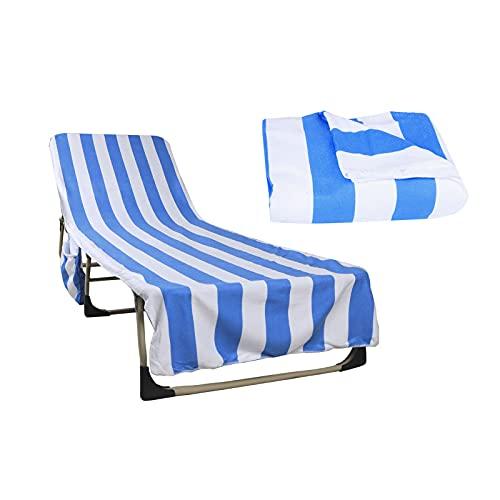 Schonbezug für Liege und Sonnenliegen (212x75cm, Baumwollpolyester), Frottee für Gartenliege, Frotteeauflage Strandtuch, Weich und Hygroskopisch