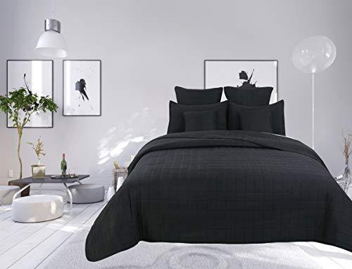 Colcha bouti de 7 piezas de color liso con diseño de cuadros para cama de 2 plazas, color negro, cubre cama bouti de 7 piezas lisas con cuadros