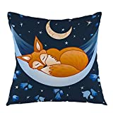 oFloral Fox Decorative Throw Pillow Cover,Fox Sleeping On Hammock Night Pillow Case Square Cushion Cover for Sofa Couch Home Car Bedroom Living Room Decor 18' x 18' Blue Yellow