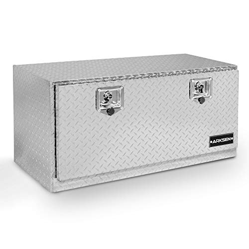 ARKSEN 36' Durable Truck RV Aluminum Diamond Plate Tool Box Underbody Trailer Storage With T-Handle Latch Key, Silver