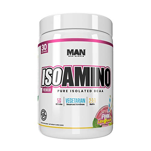 Man Sports Iso Amino Pure Isolated BCAA. Fat Burning Pink Lemonade Flavored BCAA Powder for Muscle Recovery and Lean Muscle Growth (30 Servings)